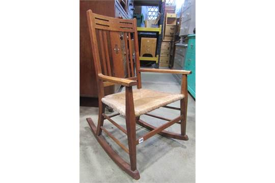 Super An Arts Crafts Oak Rocking Chair With Drop In Seat And Customarchery Wood Chair Design Ideas Customarcherynet