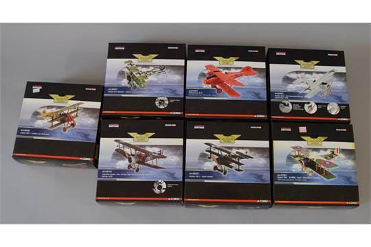 Seven boxed Corgi Aviation Archive diecast model aircraft in
