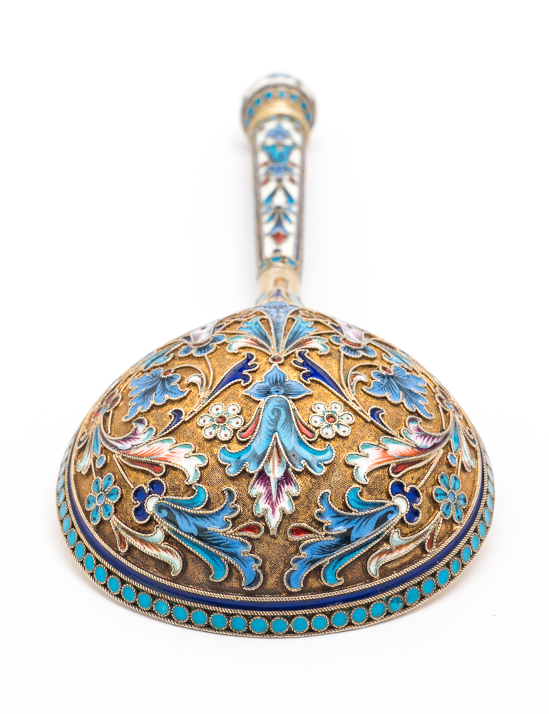 Lot 650 - Russian Imperial silver gilt and cloisonne christening set given as a gift by Czarina Alexandra of