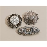 Lot 651 - Group of 3 Victorian silver brooches,