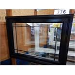 "APPROX 39 X 51"" BLACK VINYL WINDOW ASSEMBLY W/ SHOW ROOM MERCHANDISER"