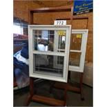 "32 X 42"" WHITE VINYL WINDOW ASSEMBLY W/ SHOW ROOM MERCHANDISER"