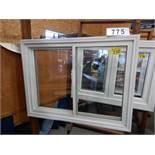 "APPROX 39 X 51"" WHITE VINYL WINDOW ASSEMBLY W/ SHOW ROOM MERCHANDISER"