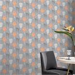 1 LOT TO CONTAIN 9 AS NEW ROLLS OF ARTHOUSE RETRO TREE ORANGE/GREY WALLPAPER - 902400 / RRP £80.91