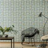 1 LOT TO 5 AS NEW ROLLS OF ARTHOUSE RETRO BLOCK TEAL/YELLOW/GREY WALLPAPER - 902308 / RRP £44.95
