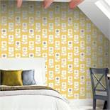 1 LOT TO CONTAIN 4 AS NEW ROLLS OF ARTHOUSE RETRO FLOWER FLORAL GREY/YELLOW WALLPAPER - 902305 / RRP
