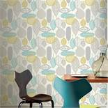 1 LOT TO CONTAIN 4 AS NEW ROLLS OF ARTHOUSE MALMO RETRO LEAF GREY/TEAL WALLPAPER - 902302 / RRP £