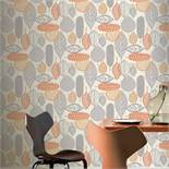1 LOT TO CONTAIN 11 AS NEW ROLLS OF ARTHOUSE MALMO RETRO LEAF GREY/ORANGE WALLPAPER - 902301 /
