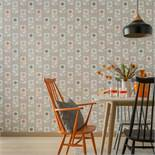 1 LOT TO CONTAIN 5 AS NEW ARTHOUSE RETRO FLOWER FLORAL GREY/ORANGE WALLPAPER - 902304 / RRP £44.95