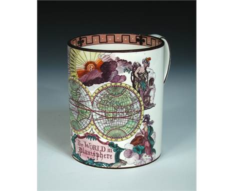 A 19th century pearlware quart mug, 'The World in Planisphere', transfer printed and handcoloured with a double hemisphere wo