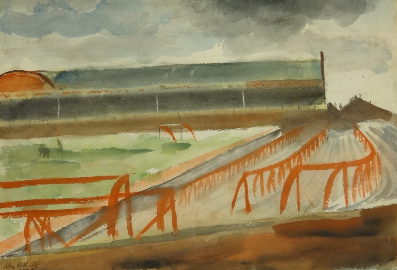 Lot 006 - John Melville (1902-1986), watercolour 'Villa Park Football Ground', signed and dated, unframed,