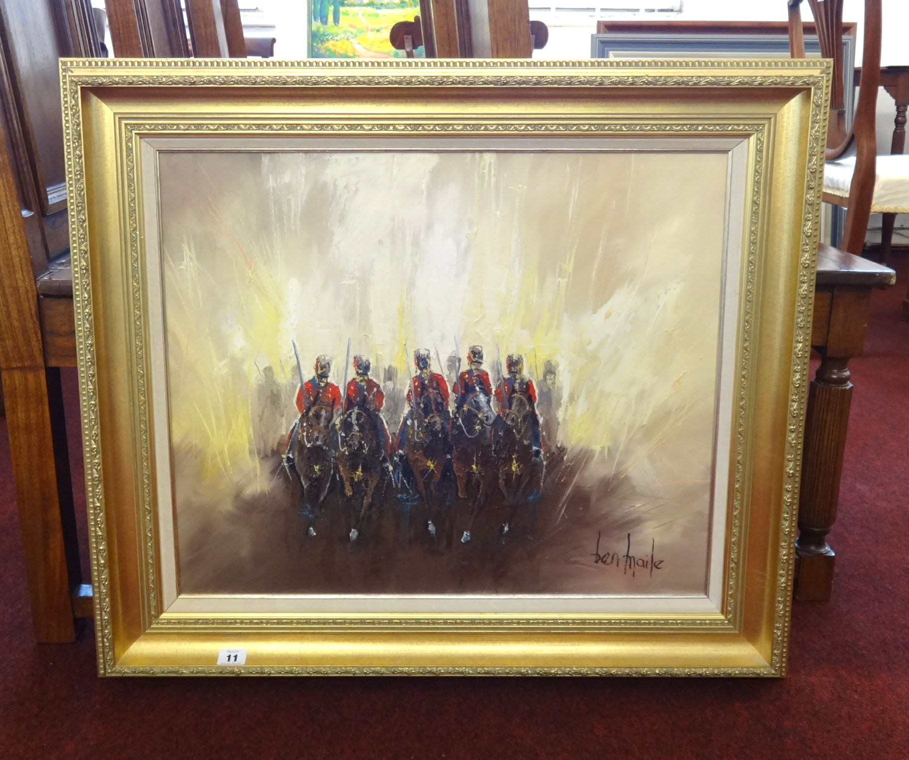 Lot 011 - Ben Maile (1922-2007) oil on canvas, 'Sabres in the Sun', signed, 50cm x 62cm.