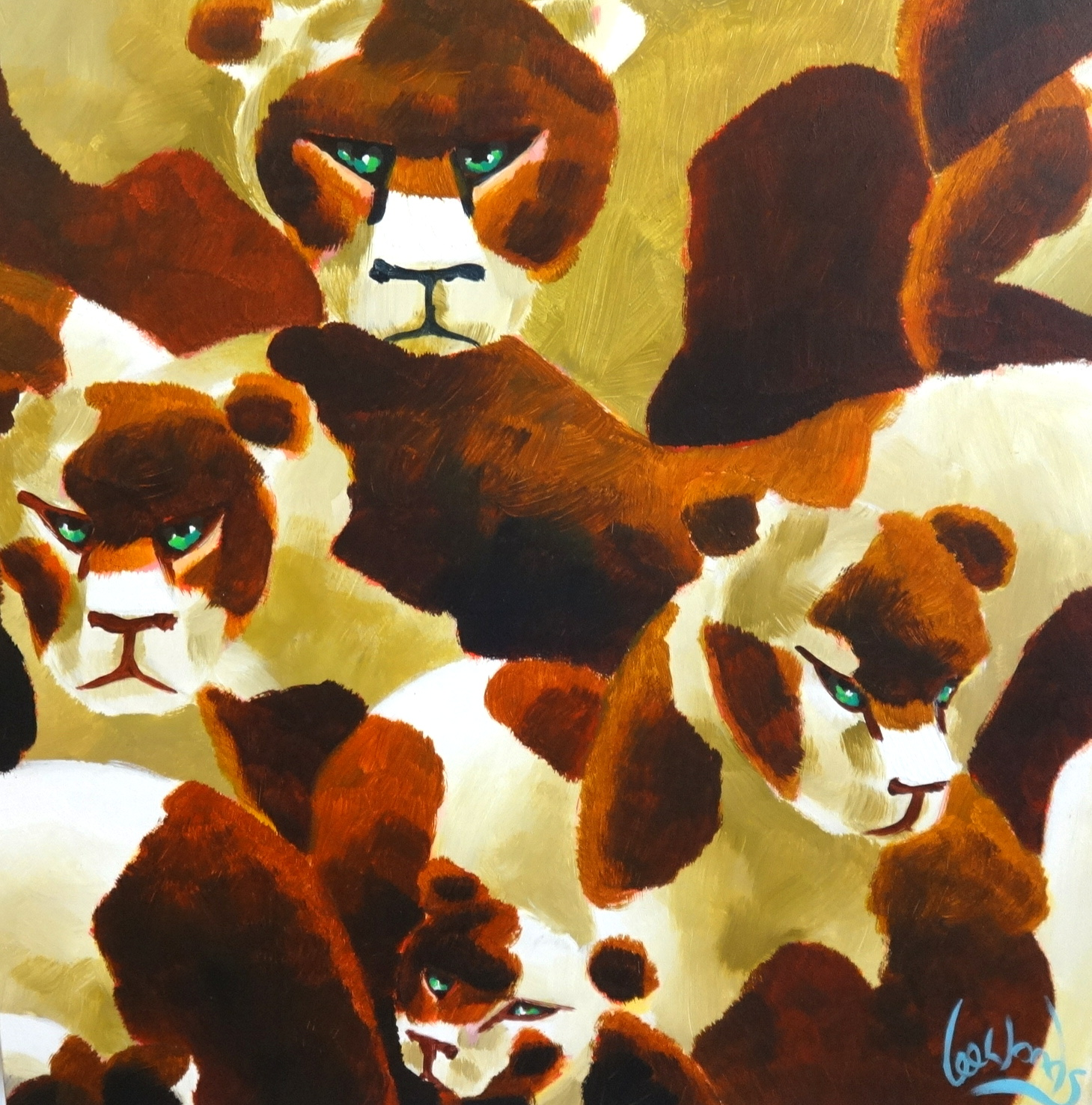 Lot 008 - Lee Woods (b1964), oil on wrap around board Genetic Zoo Series. 'The Lionesses, 1998', signed 50cm x