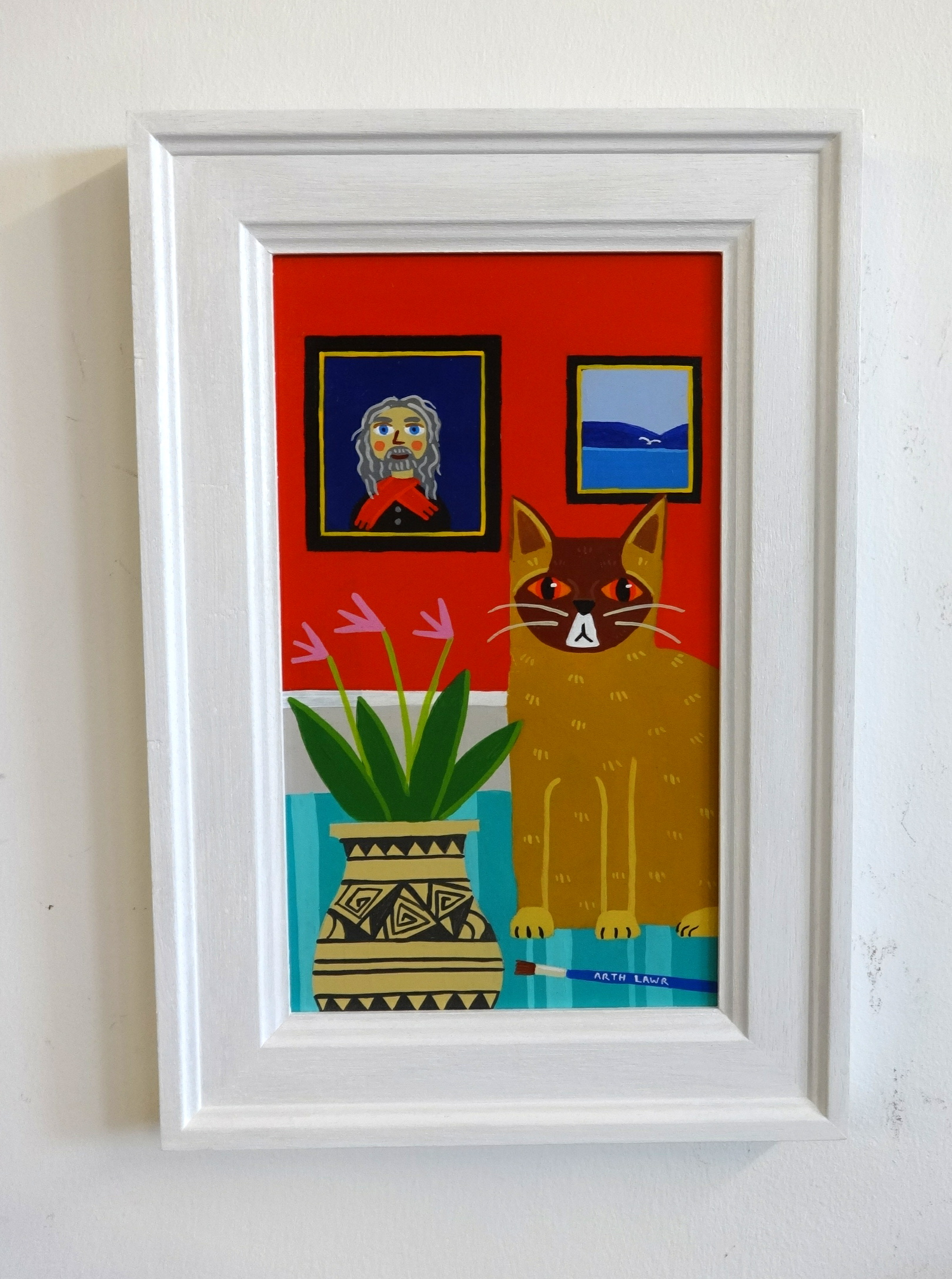 Lot 004 - Arthr Lawr (Member of the British Society of Naive Artists) acrylic on board, 'A cat and Lenkiewicz,