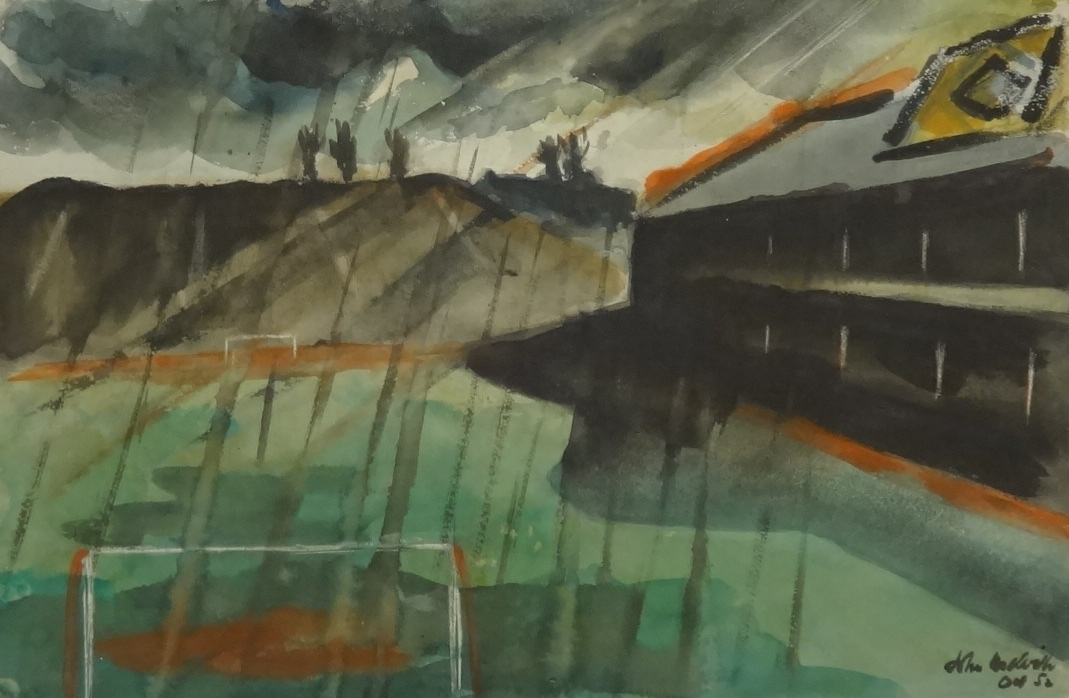 Lot 005 - John Melville (1902-1986), British Surrealist, watercolour 'Storm over Villa Park', signed and dated
