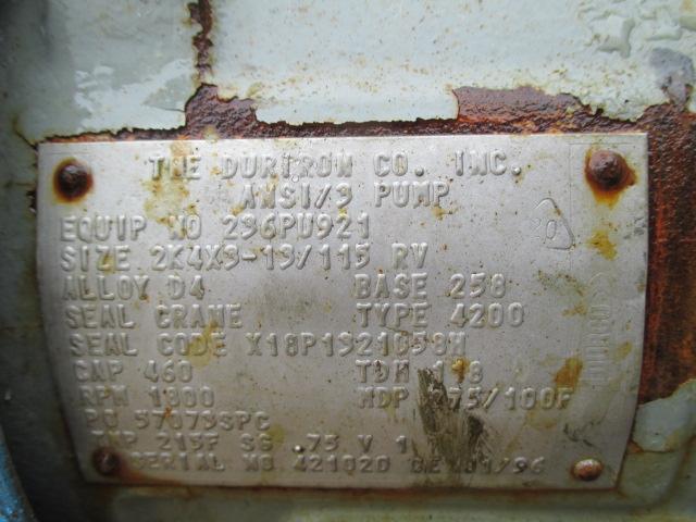 "Lot 11 - 2"" X 1"" DURCO PUMP, S/S, 10 HP"