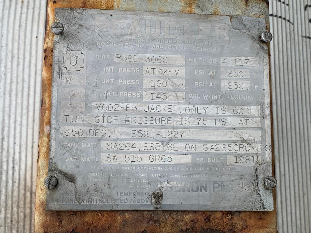 Lot 73 - 25 Sq Ft Pfaudler Wiped Film Evaporator, 316 S/S