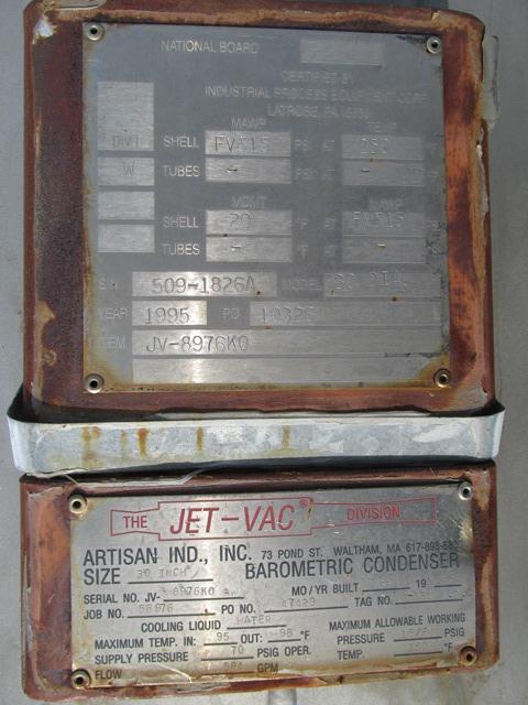 "Lot 27 - 30"" ARTISAN JET-O-VAC BAROMETRIC CONDENSER"