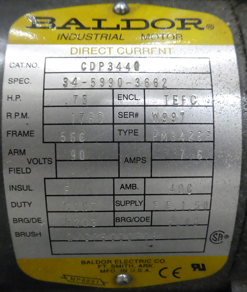 0.75 HP Baldor DC Gearmotor - Image 3 of 3