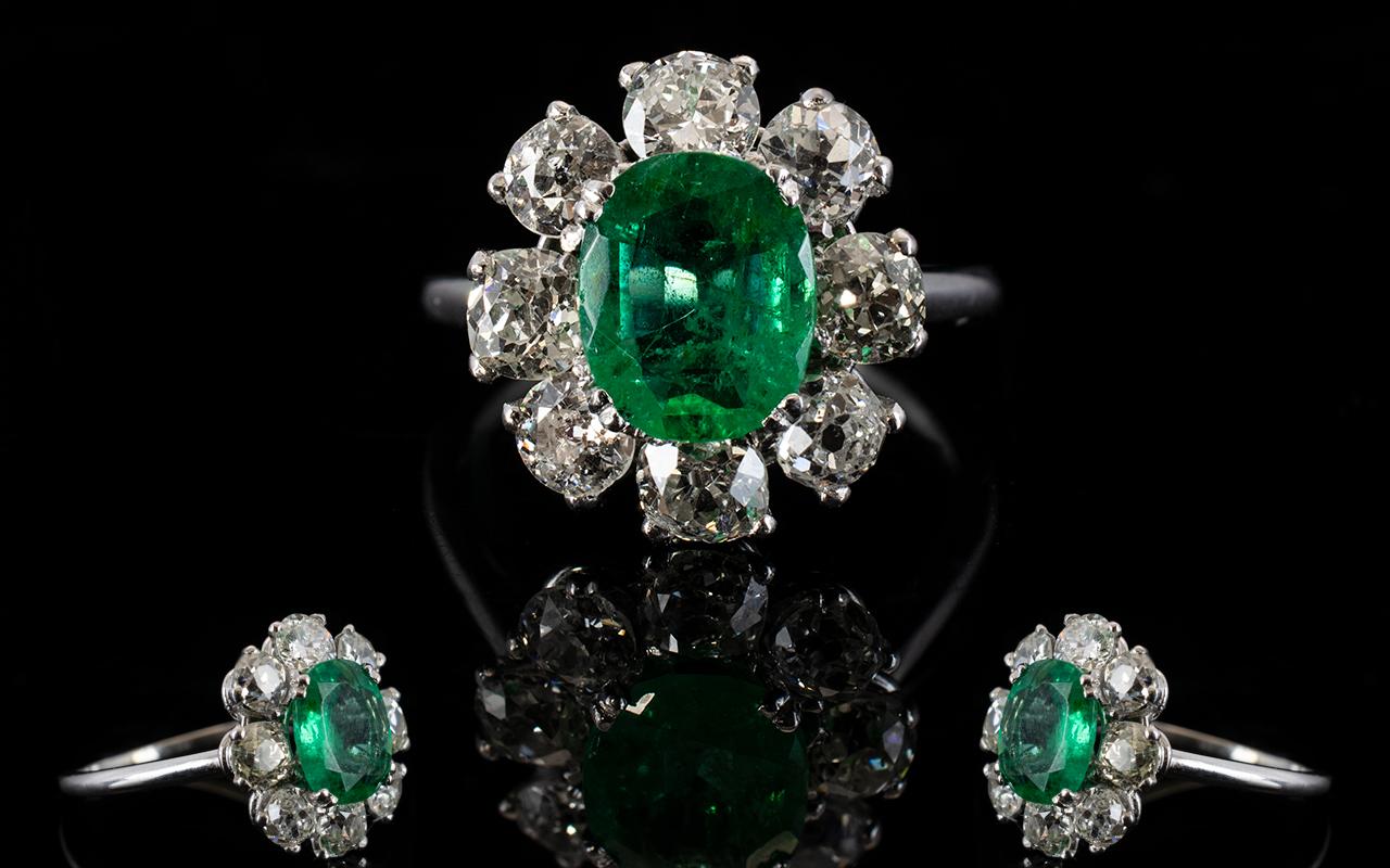 Lot 18A - 18ct White Gold Diamond & Emerald Cluste