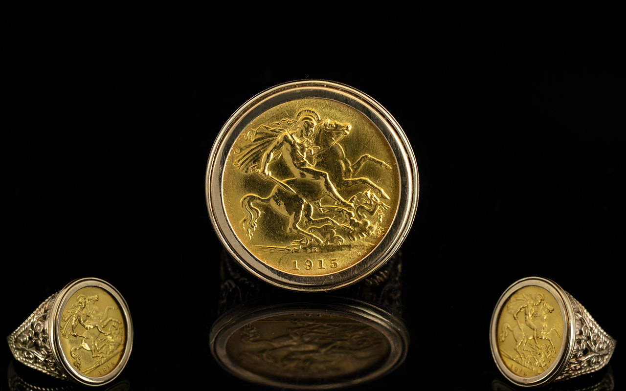 Lot 43 - 22ct Gold Sovereign - Date 1915, Within