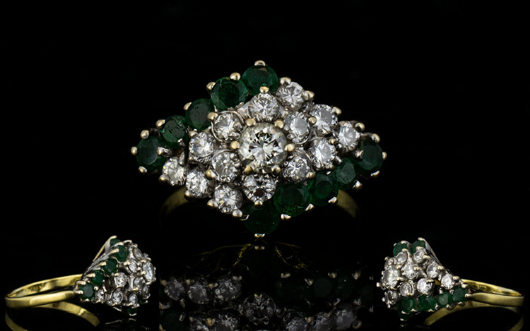 Lot 140 - 18ct Gold Attractive 1970's Emerald Clus