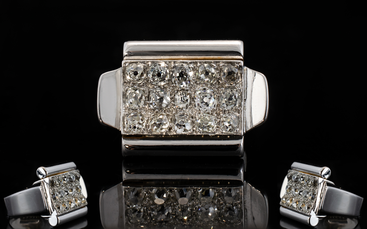 Lot 10A - White Gold Diamond Cluster Ring, 15 Old