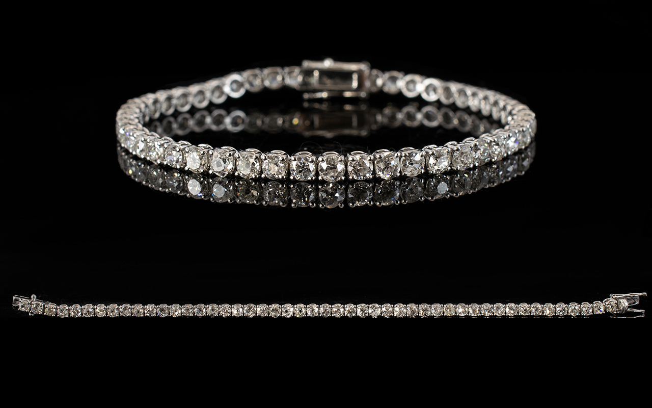 Lot 40A - 18ct White Gold Diamond Tennis Bracelet,