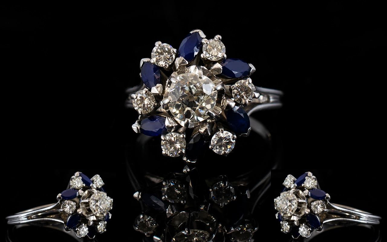 Lot 70A - 18ct White Gold Diamond & Sapphire Clust