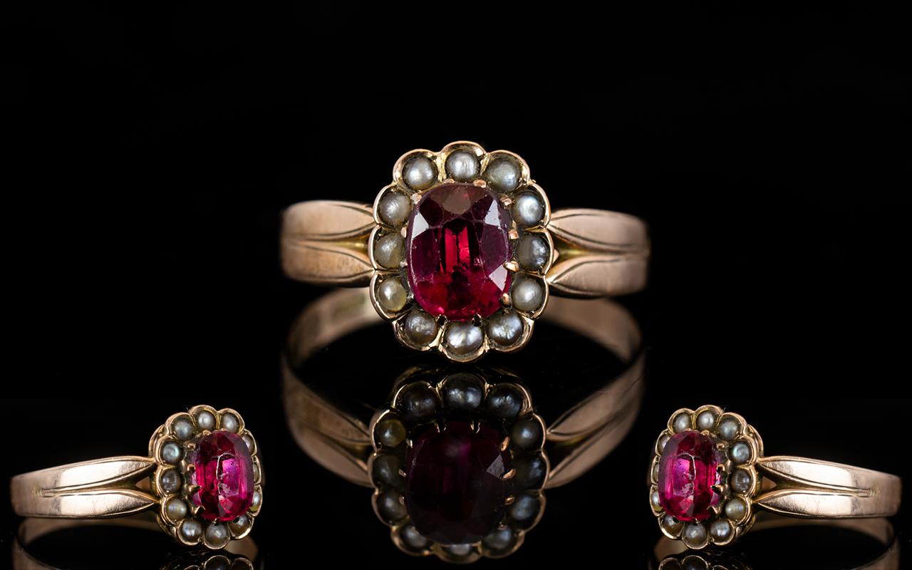 Lot 54 - Antique Period 9ct Rose Gold Stone Set C