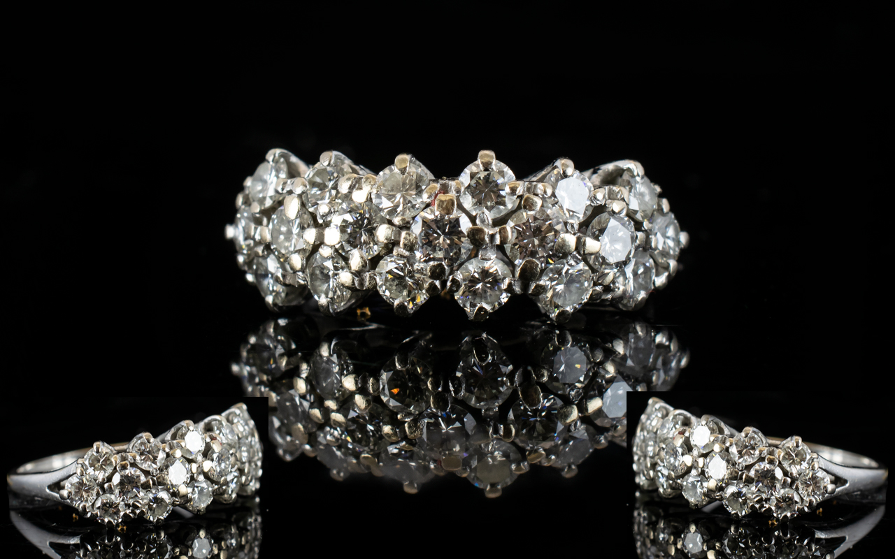 Lot 12 - White Gold Diamond Cluster Ring Set with