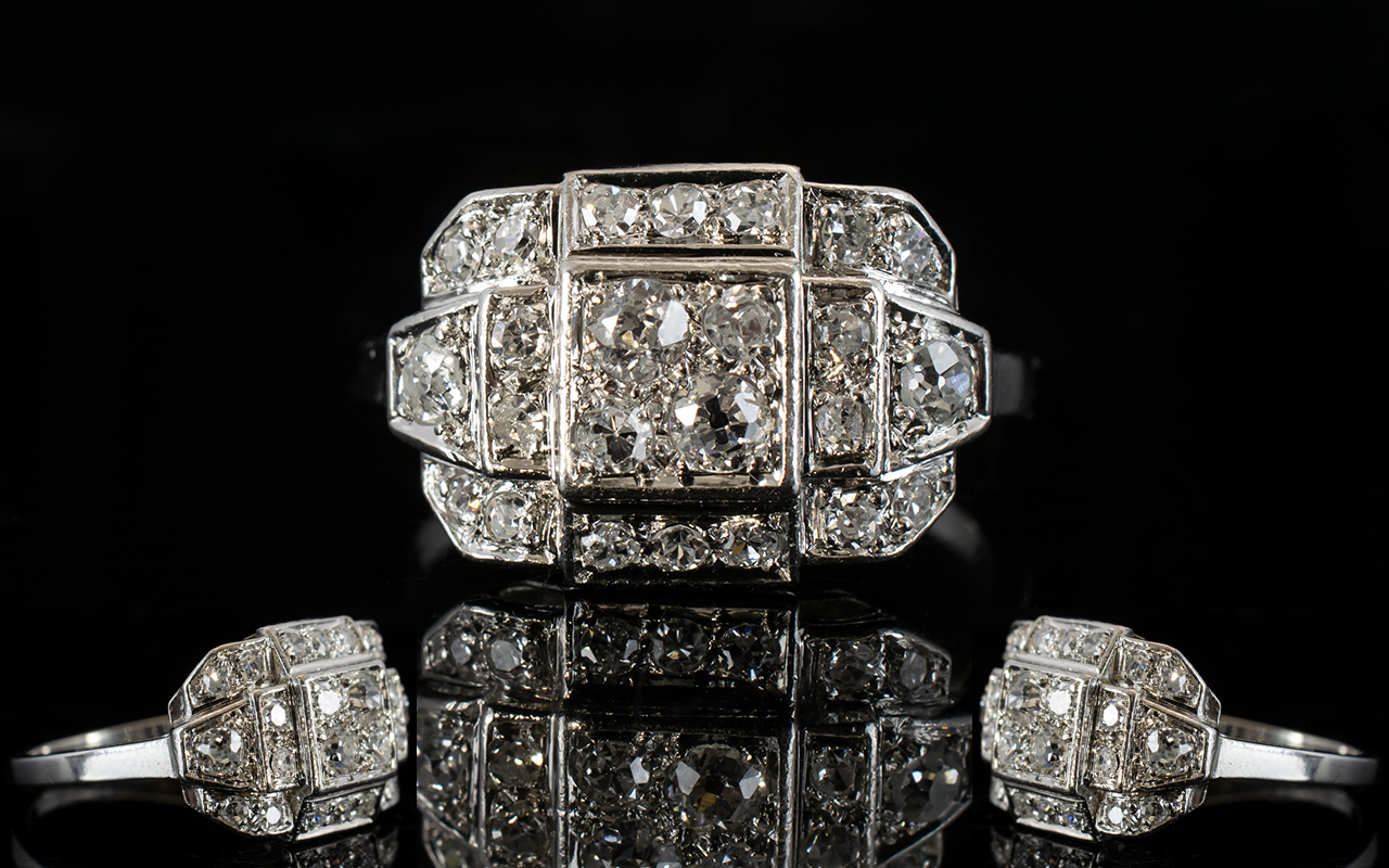 Lot 15A - French Art Deco Diamond Cluster Ring, Pa