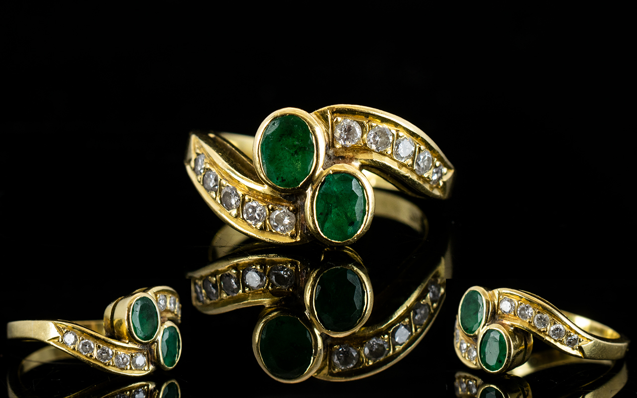 Lot 35 - Ladies - Attractive 18ct Gold Emerald an