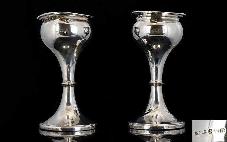Lot 163 - Art Nouveau Heavy Pair of Silver Tulip S