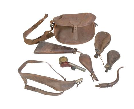 19TH CENTURY HORN AND BROWN LEATHER POWDER FLASK  Provenance: the Estate of the late Rufus Eyre.
