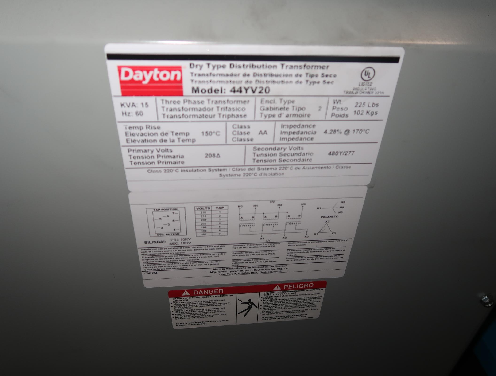 Lot 26 - DAYTON MDL. 44YV20 15KVA, 230V, 3PH TRANSFORMER