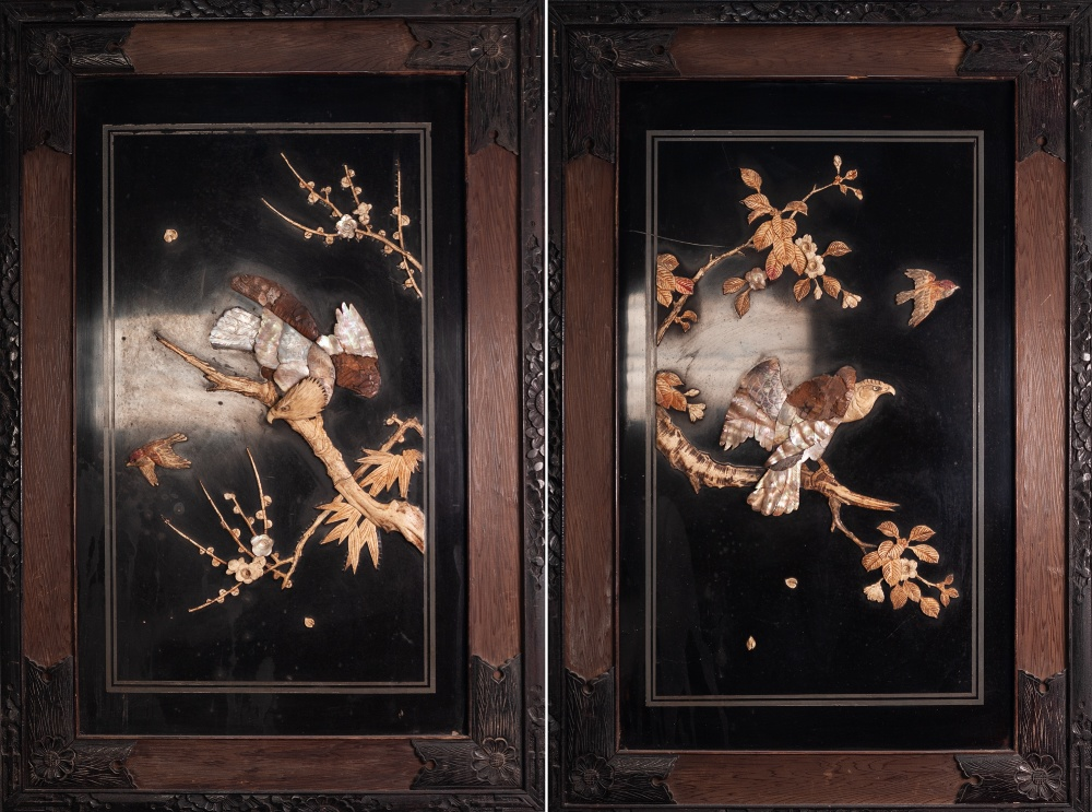 Lot 92 - PAIR OF ORIENTAL MOTHER OF PEARL AND BONE MOUNTED BLACK LACQUERED WALL PANELS, each of oblong