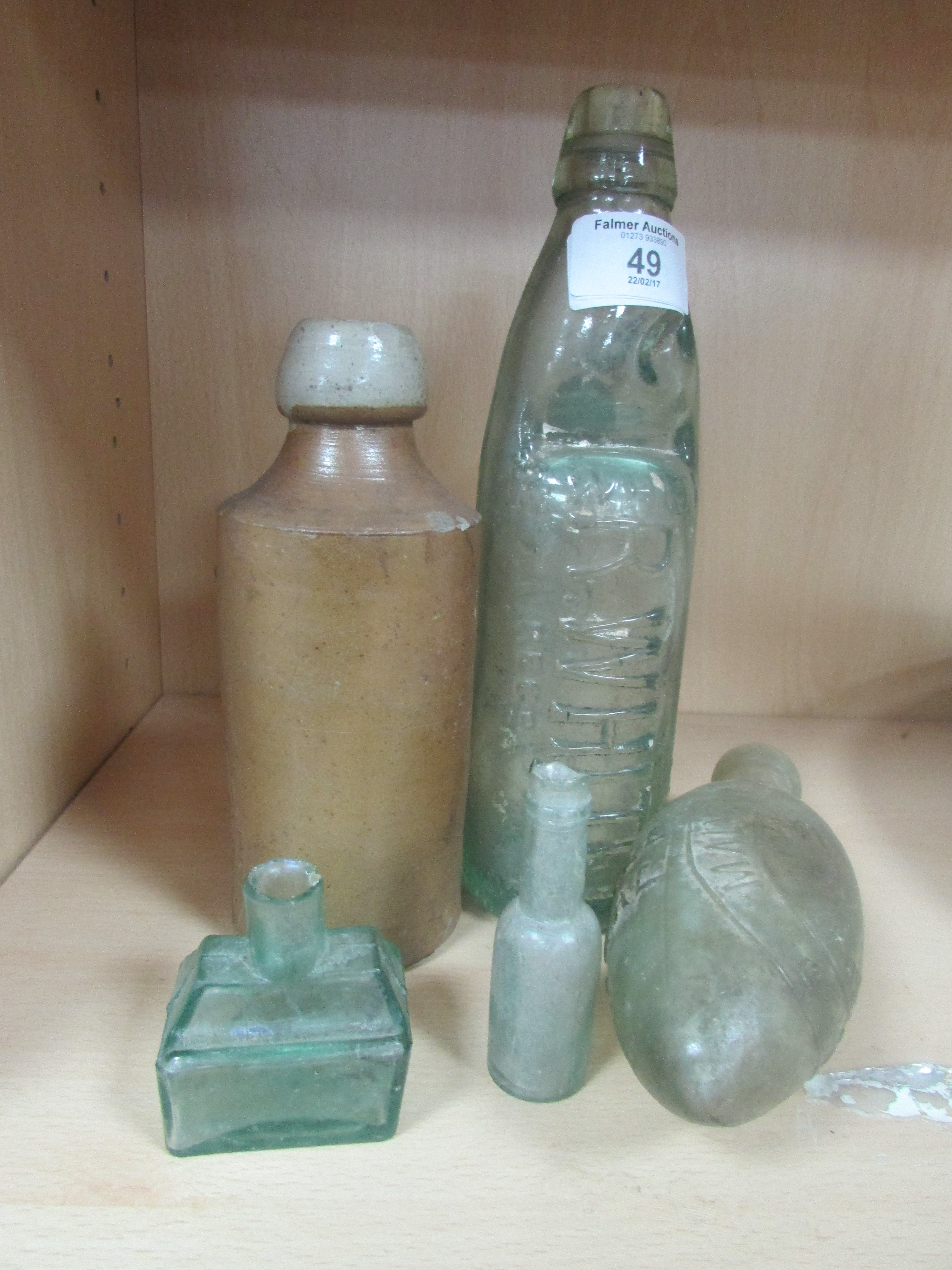 Lot 49 - 5 old bottles including R. Whites