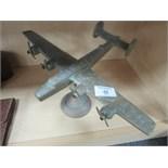 Lot 48 - Brass Lancaster plane on stand