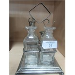 Lot 39 - Silver base condiment set