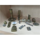 Lot 36 - Hand made + Trench art lighters, candle stick lighter / plug / gun shell etc