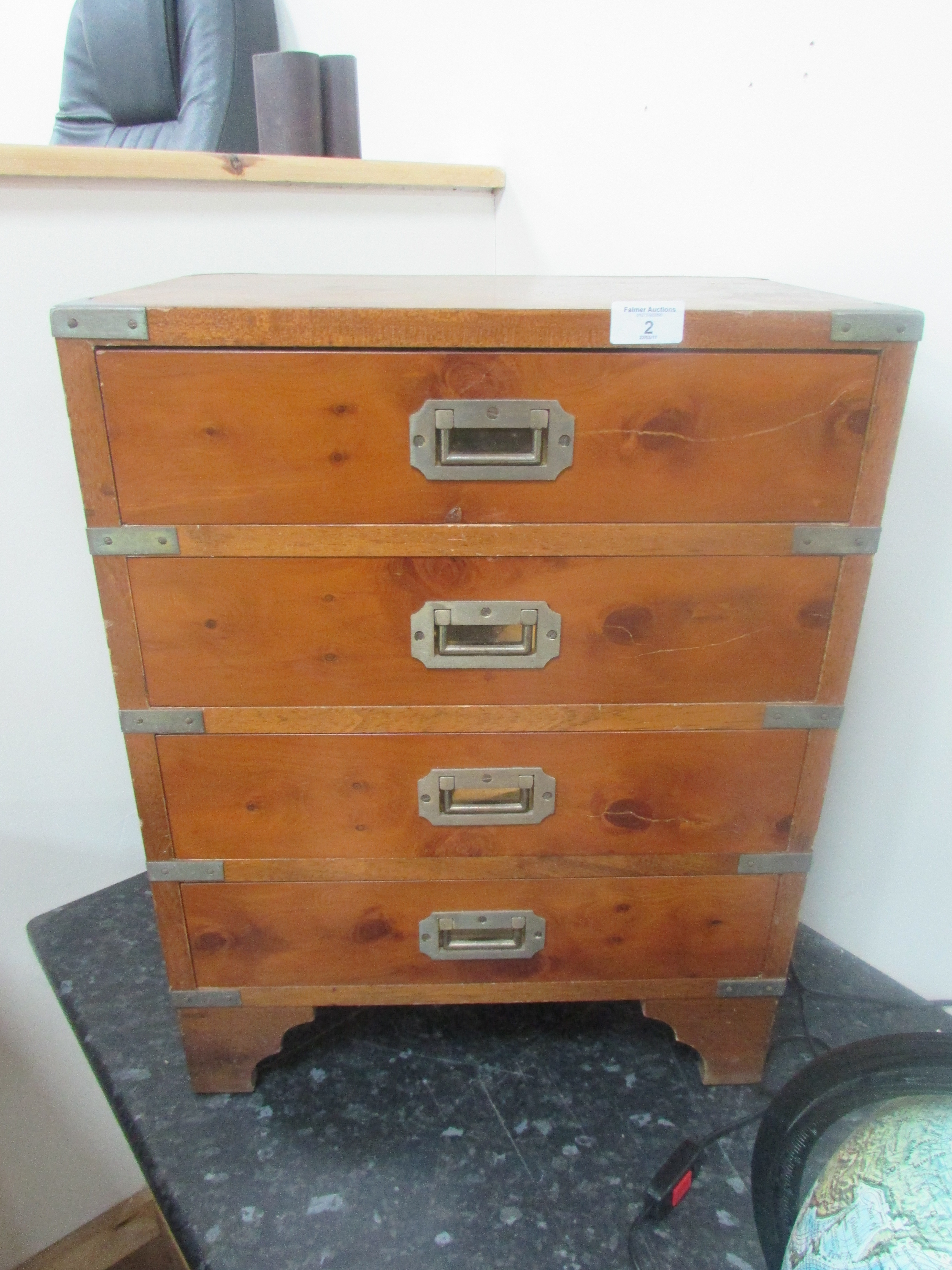 Lot 2 - Yew wood military chest of drawers