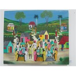 Lot 1 - Haitian oil on canvas by noted artist 'Poitevien Telfort' 49cm x 40cm