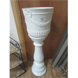 Lot 61 - White ceramic plant stand and planter