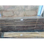 "Lot 56 - Wooden 15 drawer tool chest 3' 7"" x 1' x 5"""