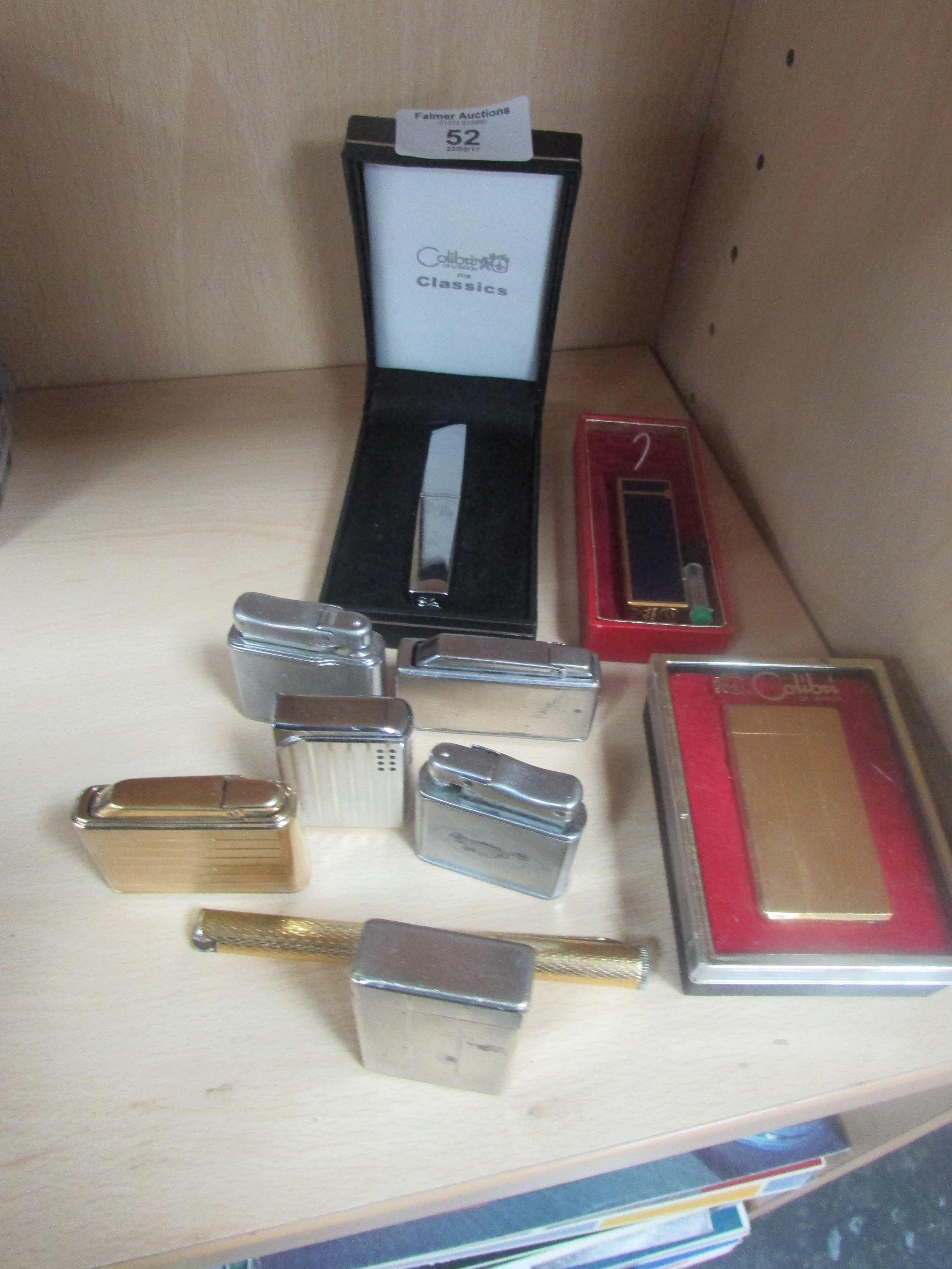 Lot 52 - 10 calibri lighters to include gold plated one + pen lighter