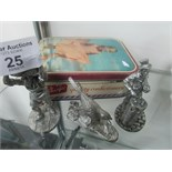 Lot 25 - Vintage shards toffee tin with 3 pewter figures Royal Hampshire