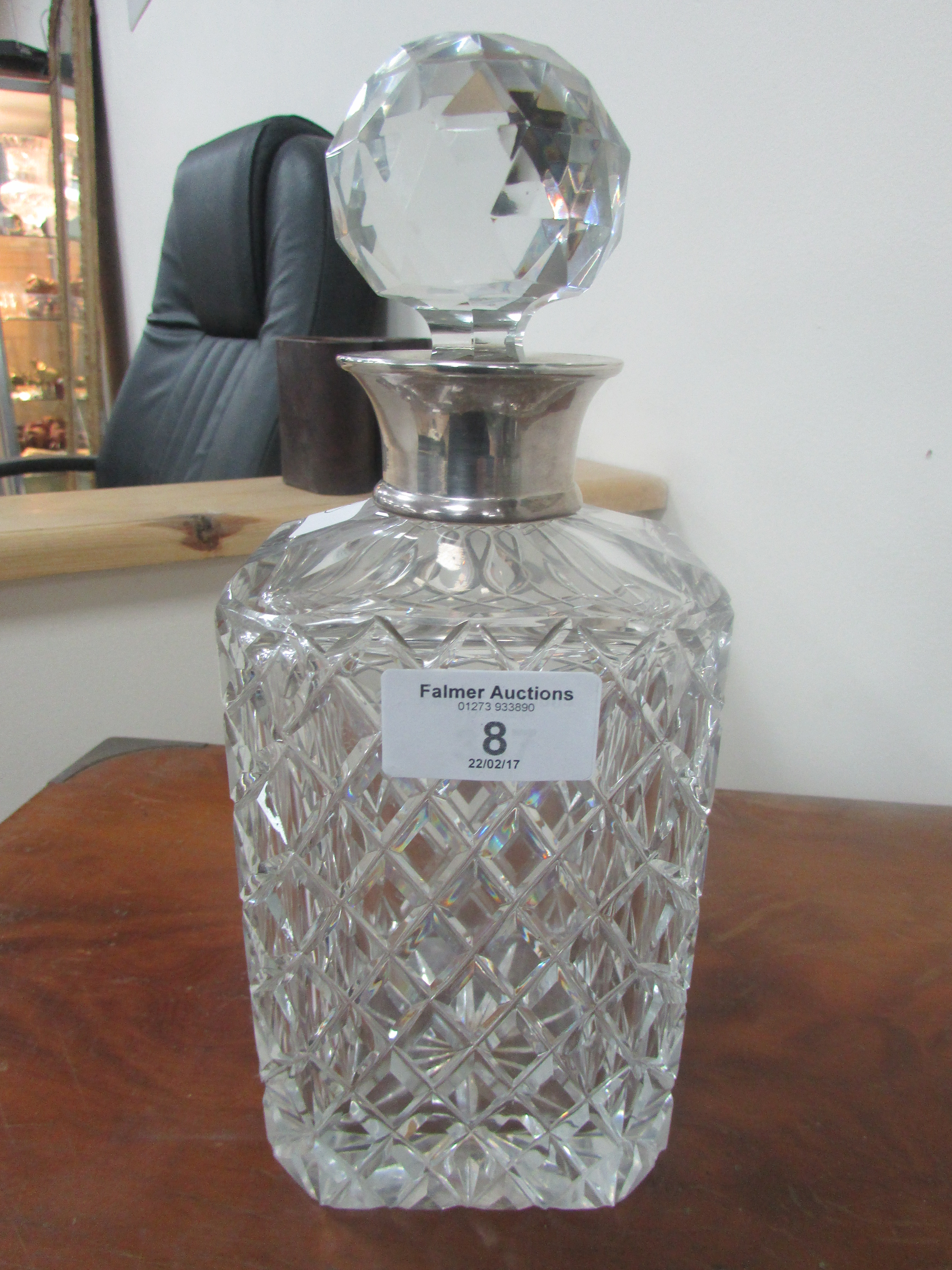 Lot 8 - Hall marked Silver collared decanter by Preece & Williscombe