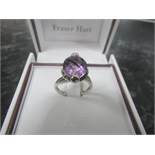 Lot 23 - 925 silver purple stone ring