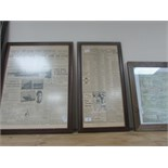 Lot 44 - x 3 framed Titanic newspaper articles
